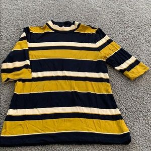 Ann Taylor Gold and blue and cream striped T